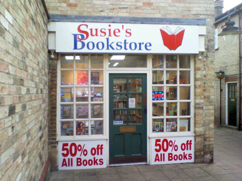 Susie's Bookstore, Biggleswade: all books half-price!